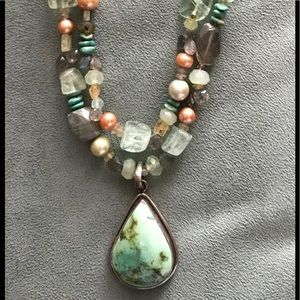 Jewelry - Turquoise SS Pendant with 2 Strand Beaded Necklace
